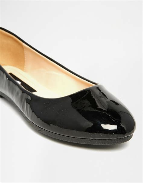 shoe flats lyst black patent ballet flat shoes in black