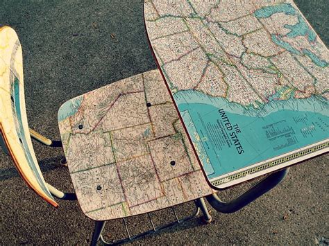 Decoupage With Maps - diy decoupage map desk with minwax topcoat
