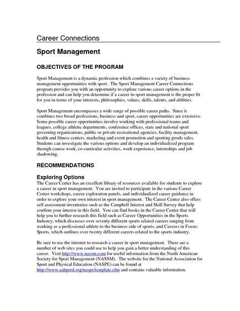Sports Management Resume Exles Sports Management Resume Sles View This Sports And Fitness Sports Management Resume Template