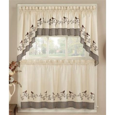Kitchen Curtains Walmart Chf Birds Kitchen Curtain 24 Quot Tier Pair Walmart