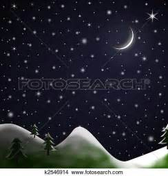 Snow White Wall Mural drawings of christmas scene starry snowy night k2546914
