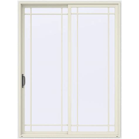 96 Inch Sliding Patio Doors Jeld Wen 72 In X 96 In V 4500 Vanilla Prehung Left Sliding 9 Lite Vinyl Patio Door