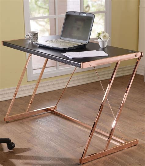 rose gold desk l finis black and rose gold desk from acme coleman furniture