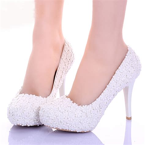 comfortable bridal heels white lace flower formal dress shoes comfortable
