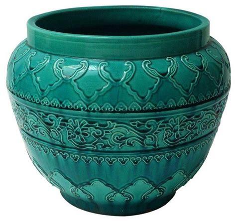 Indoor Flower Planters by Turquoise Majolica Planter Mediterranean Indoor Pots