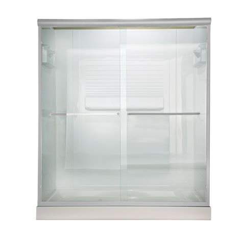 Clear Glass Shower Doors American Standard 60 Inch W X 65 5 Inch H Frameless Bypass Shower Door In Silver Finish