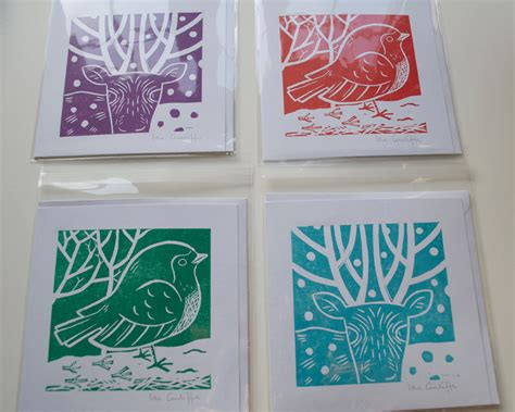 Handmade Prints - card set of 4 printmaking handmade linocut 163