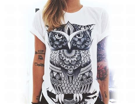 T Shirt Black Owl t shirt black and white owl free shipping
