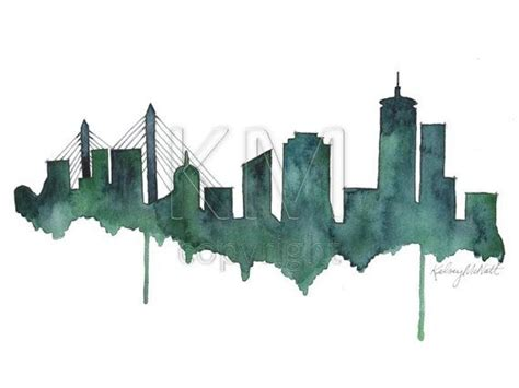 watercolor tattoo boston boston city skyline painting craft skyline