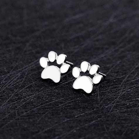 Cat Paw Earrings cat paw print silver earrings cat collection