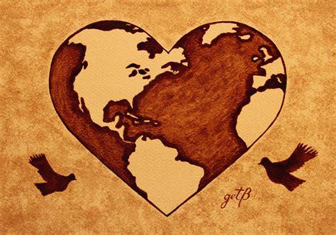 Earth Day Gaia Celebration Coffee Painting Painting by Georgeta Blanaru