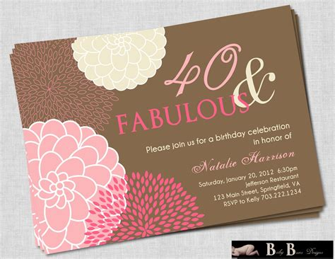 40 year birthday invitations wording 40 and fabulous 40th birthday invitation pink brown