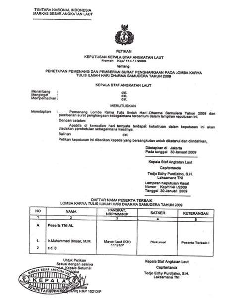 11 b copy surat keputusan kepala staf tni al lomba karya