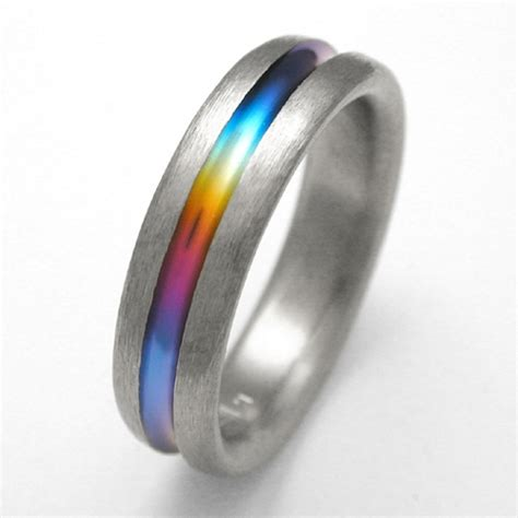 Titanium Rings by Bayou Titanium Ring With Rainbows Titanium Wedding Rings