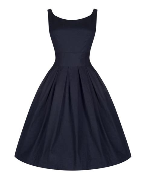 Lana Midnight Blue Swing Dress Vintage Inspired Fashion