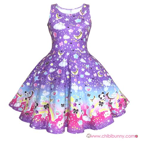 Dress Bigsize Kawaii Xl 2xl 3xl 4xl 5xl the rainbow purple kawaii skater dress and