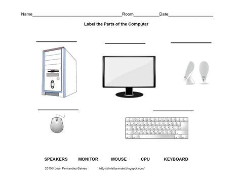 worksheet computer parts printable computer worksheets for grade 2 1000 images about puter lab on computer