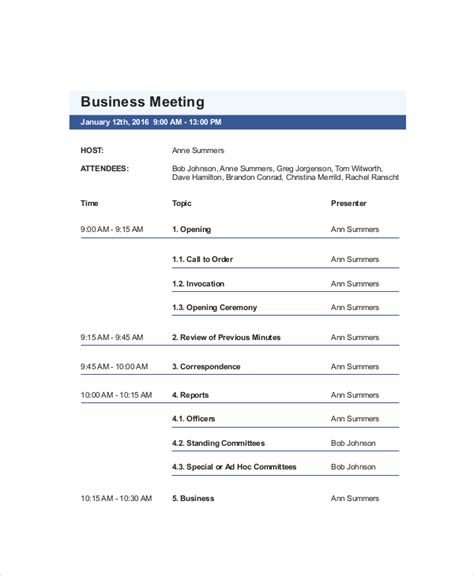 business agenda template 10 business meeting agenda templates free sle