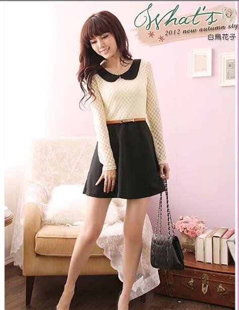 Busana Dress Wanita Black Sweet Ribbon Desain Best Seller 31309 blouse korean style chevron blouse