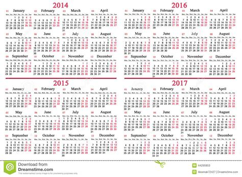 2014 To 2017 Calendar Usual Calendar For 2014 2017 Years Stock Photo Image
