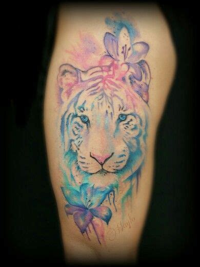 watercolor tattoo tiger watercolor style tiger and thigh by haylo at