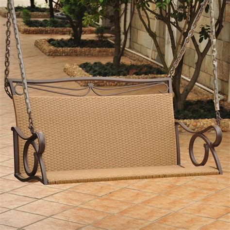hanging patio swing wicker hanging loveseat patio swing 4100 dbl