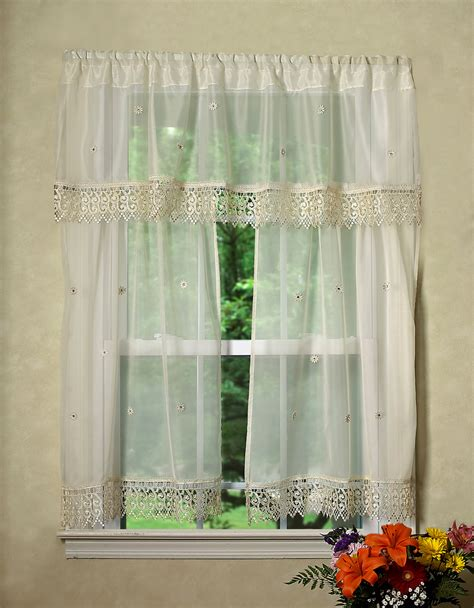 daisy kitchen curtains daisy design sheer 3pc kitchen curtain set 18 quot x60 quot valance