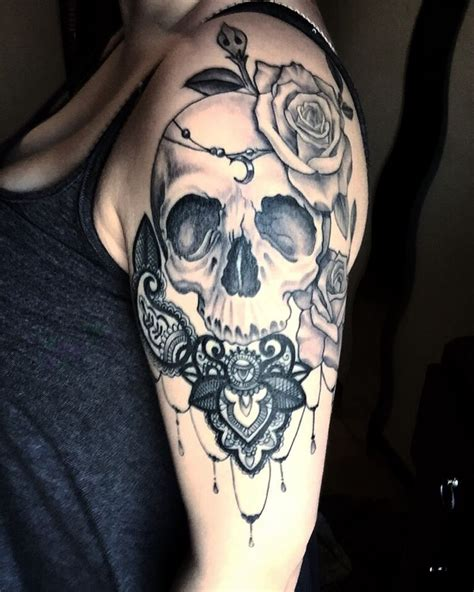 rose and skull tattoo sleeves 25 best ideas about lace skull on