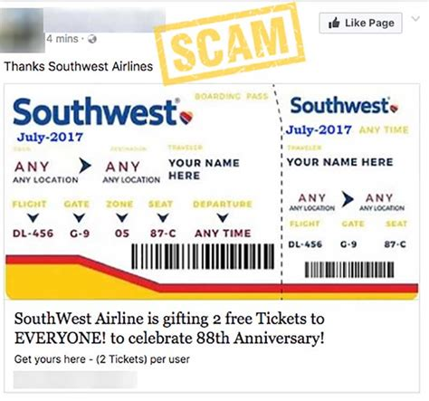 quot get two free southwest tickets quot facebook survey scam hoax slayer - Southwest Ticket Giveaway Facebook