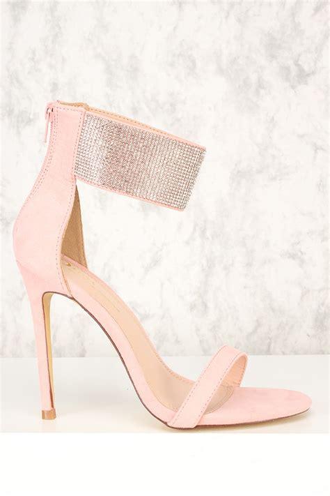 blush rhinestone accent open toe single sole high