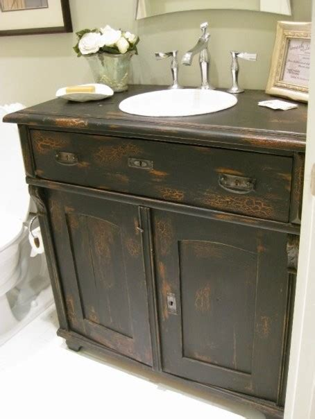 antique sideboard used as bathroom vanity eclectic