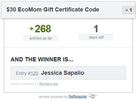 Gift Certificate Winner Letter 30 Ecomom Gift Certificate Winner