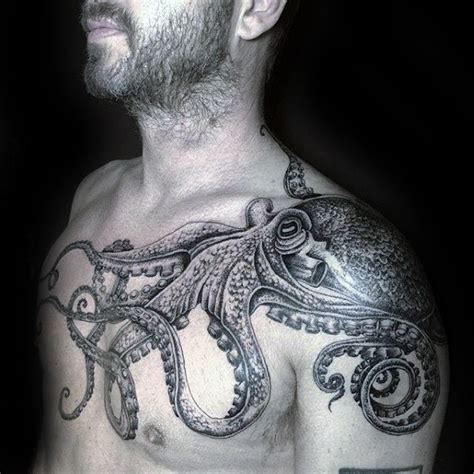 octopus tattoo for men 40 octopus chest designs for oceanic ink ideas