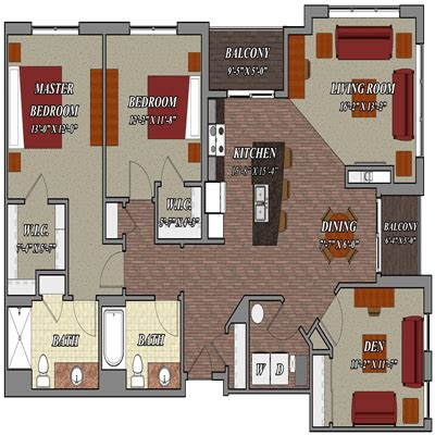 apartment floor plans two bedroom den two bath 2 bedroom 2 bathroom den style e1 lilly preserve apartments