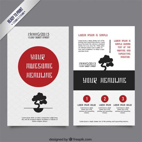 japanese brochure template vector free download