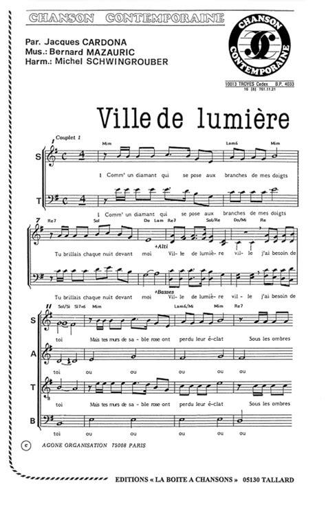 chanson de la ville 97 partition de musique 233 diteur de partitions pour chorale