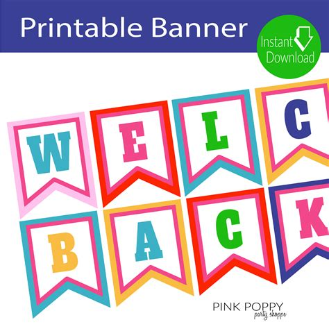 Free Printables Welcome Back Banner Pink Poppy Party Shoppe Llc Free Printable Welcome Banner Template