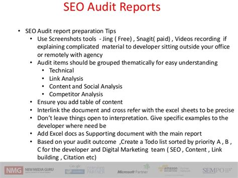 Seo Audit Workshop Frameworks Techniques And Tools Seo Audit Report Template