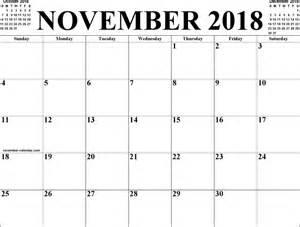 Calendar Nov 2018 November 2018 Calendar 1 For Free Formxls