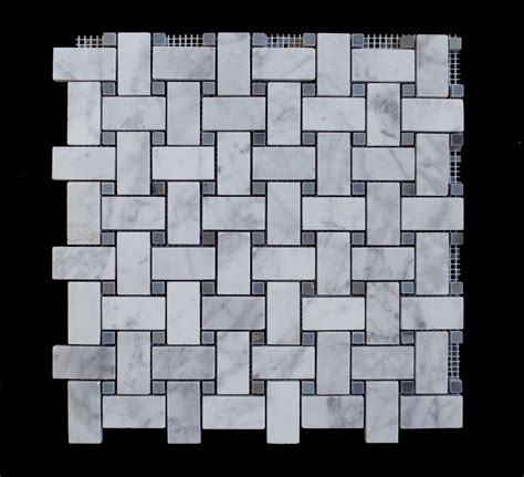 carrara white 1x2x basketweave with grey dots honed marble mosaic tile