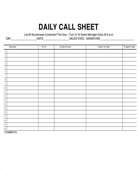 call log report template 9 sales sheet templates free sle exle format
