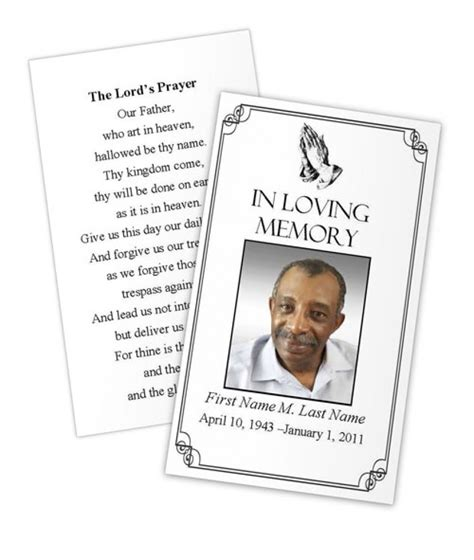 funeral service cards template business card photoshop template funeral prayer card