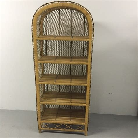 southwestern woven wicker bookcase dome top 5 shelf rattan