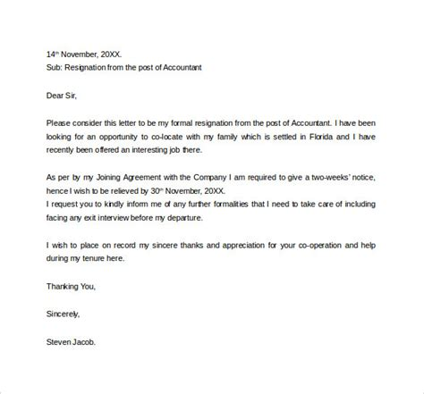 Resignation Letter To Hr And Manager Formal Resignation Letter 16 Free Documents In Word Pdf