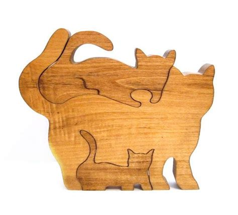 woodworking puzzles vintage wood puzzle handmade cat kitten toys