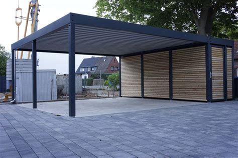 design metall carport aus holz stahl mit abstellraum - Doppelcarport Metall Preis