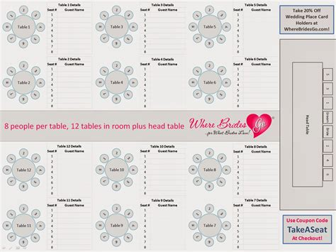 Seating Chart For Wedding Reception Template Wedding Table Chart Template