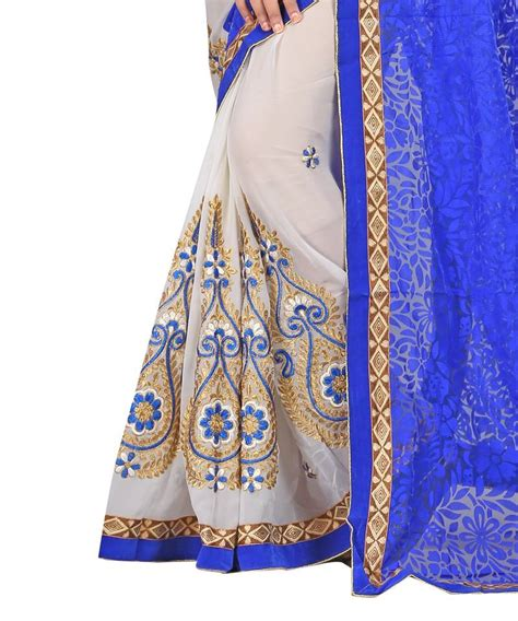 mahesh j chotrani decorative name plate buy mahesh j buy white embroidered faux georgette saree with blouse online
