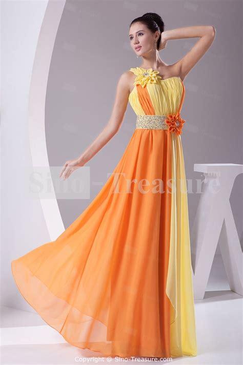 Dress Wanita Orange amazing yellow orange chiffon one shoulder hourglass
