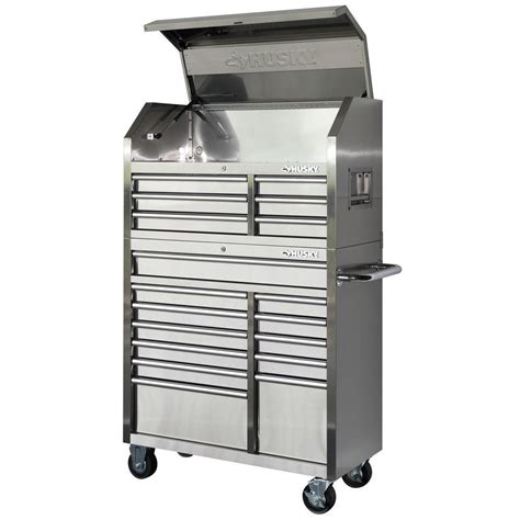 husky 40 in 18 drawer stainless steel tool chest and